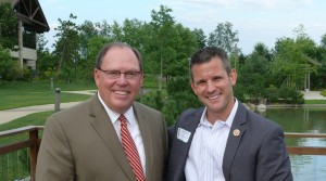 Rosecrance President/CEO Philip W. Eaton and U.S. Rep. Adam Kinzinger (R-16th) pose outside the Rosecrance Griffin Williamson Adolescent Campus, which the congressman visited Monday, July 15.