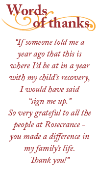 Rosecrance 'Words of Thanks' quote