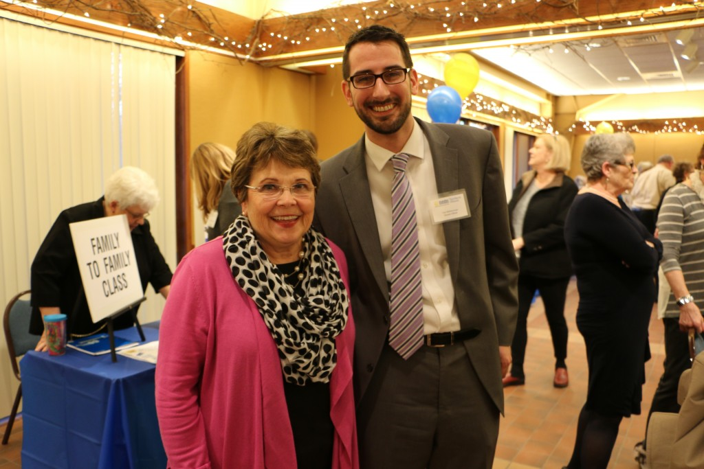 """Rosecrance Vice President of Public Policy Mary Ann Abate with Alderman Tom McNamara at the """"Get to Know NAMI 2015"""" event."""
