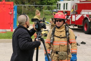 Pat Spangler, unit coordinator gives an interview with a local television station.
