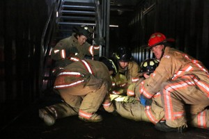Rosecrance staff perform a mock search and rescue with the Rockford Fire Department May 19, 2015.