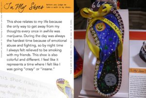 story decorated shoe displayed on web page